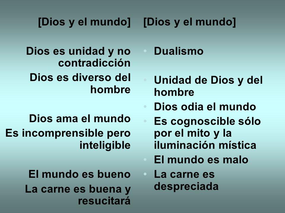 [Dios y el mundo] Dios es unidad y no contradicción. Dios es diverso del hombre. Dios ama el mundo.